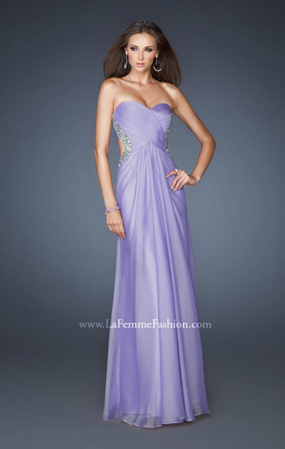 Picture of: Strapless Chiffon Dress with Cut Outs and Beaded Trim, Style: 18619, Detail Picture 1
