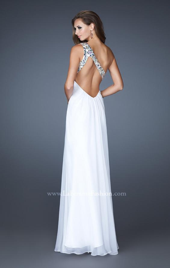 Picture of: Embellished One Shoulder Chiffon Dress with Belt and Slit, Style: 18635, Back Picture