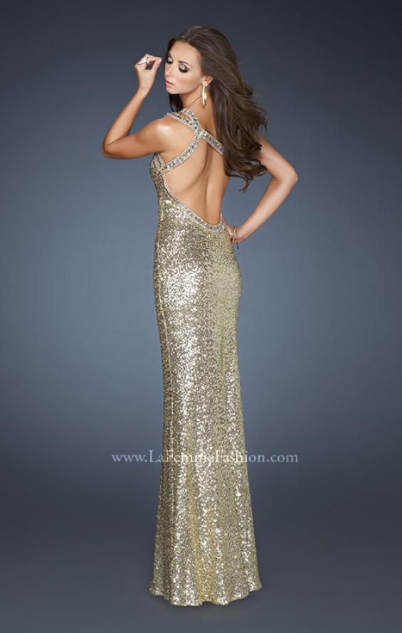 Picture of: All Over Sequin Dress with Beaded Straps and Low Back, Style: 18638, Back Picture