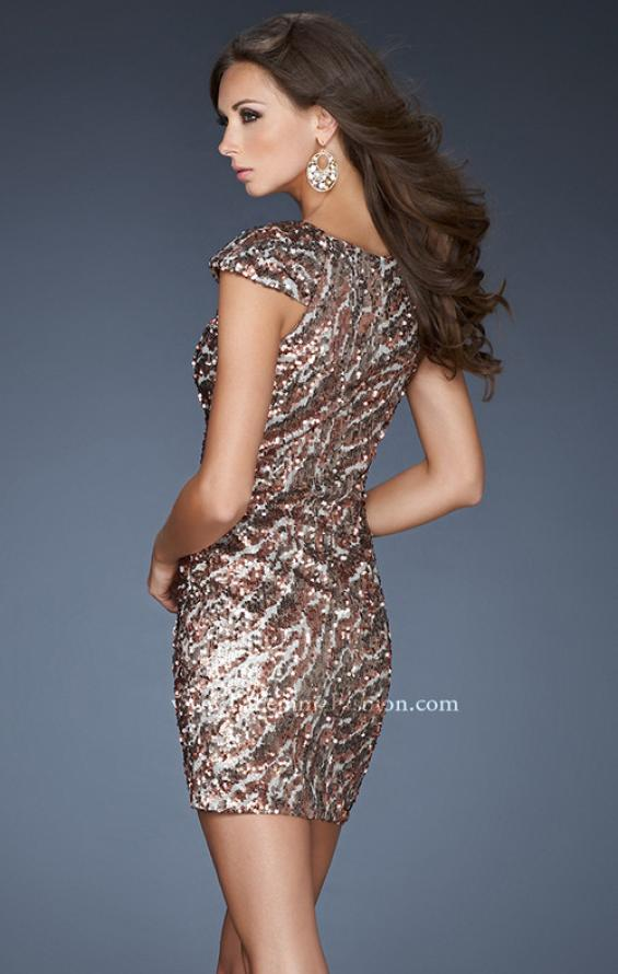 Picture of: Short Cap Sleeve Cocktail Dress with Sequins, Style: 18652, Back Picture