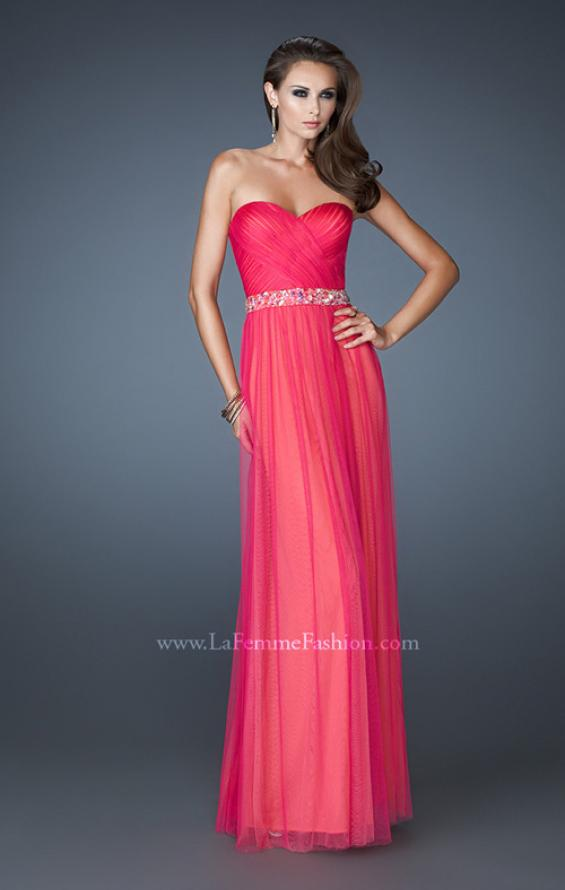 Picture of: Chiffon Gown with Sweetheart Neckline and Beaded Belt in Pink, Style: 18656, Main Picture