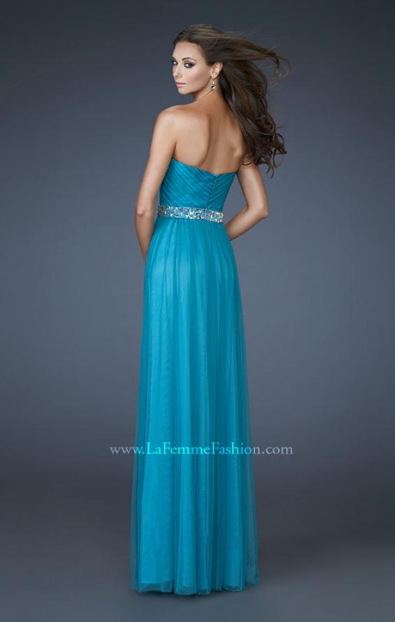 Picture of: Chiffon Gown with Sweetheart Neckline and Beaded Belt in Blue, Style: 18656, Back Picture
