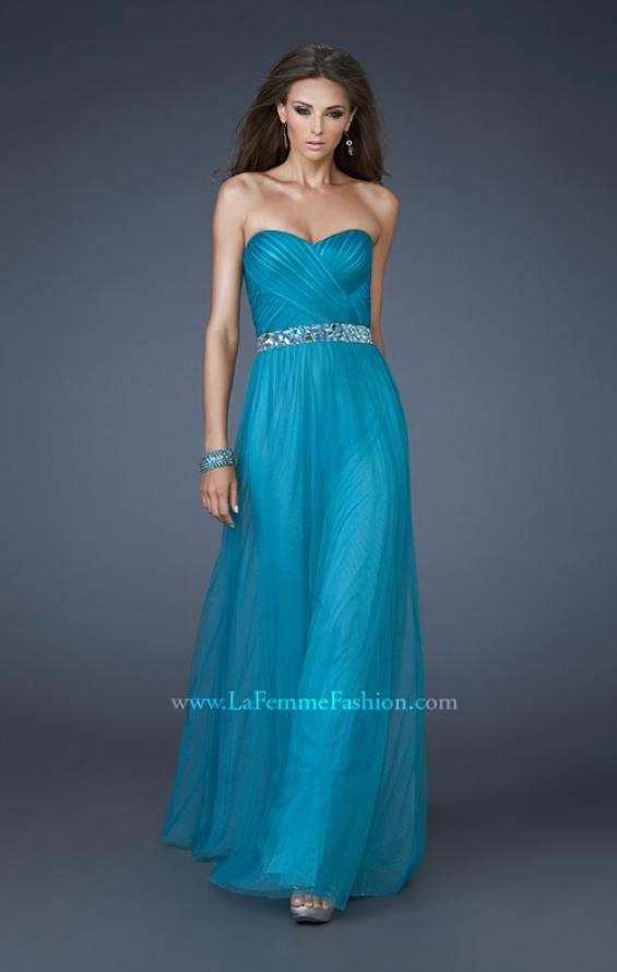 Picture of: Chiffon Gown with Sweetheart Neckline and Beaded Belt in Blue, Style: 18656, Detail Picture 1