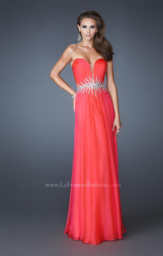 Picture of: Strapless Chiffon Dress with Ruching and Rhinestone Belt, Style: 18657, Main Picture