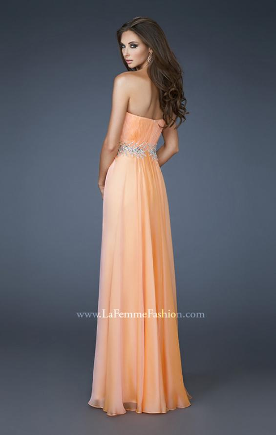 Picture of: Strapless Chiffon Dress with Ruching and Rhinestone Belt, Style: 18657, Back Picture