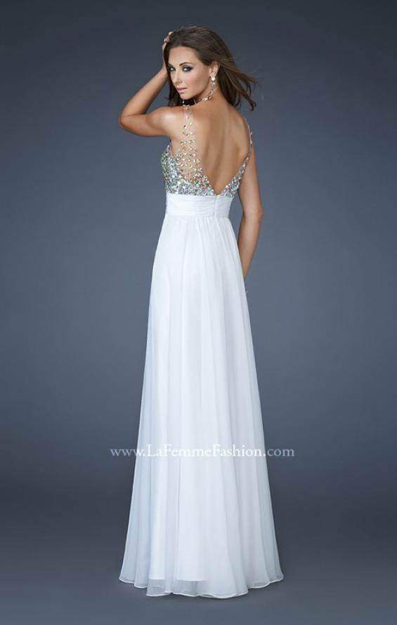 Picture of: A-line Chiffon Dress with Mesh Straps and Low V Back in White, Style: 18669, Back Picture