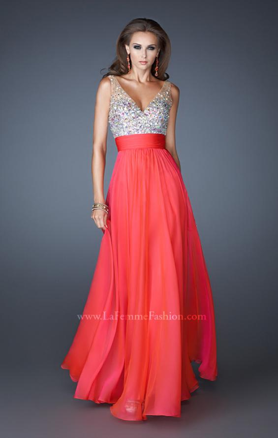 Picture of: A-line Chiffon Dress with Mesh Straps and Low V Back in Orange, Style: 18669, Detail Picture 1