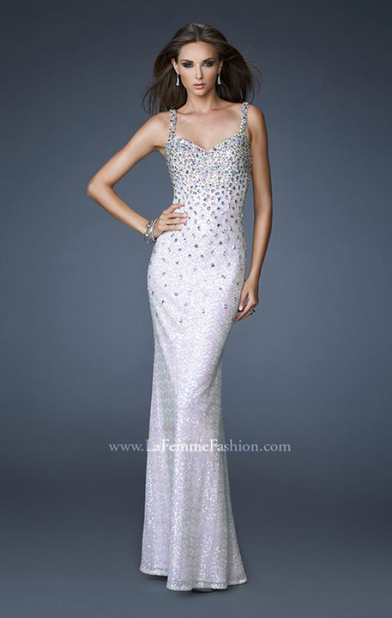 Picture of: Long Sequined Gown with Beaded Straps and Low Back, Style: 18670, Main Picture