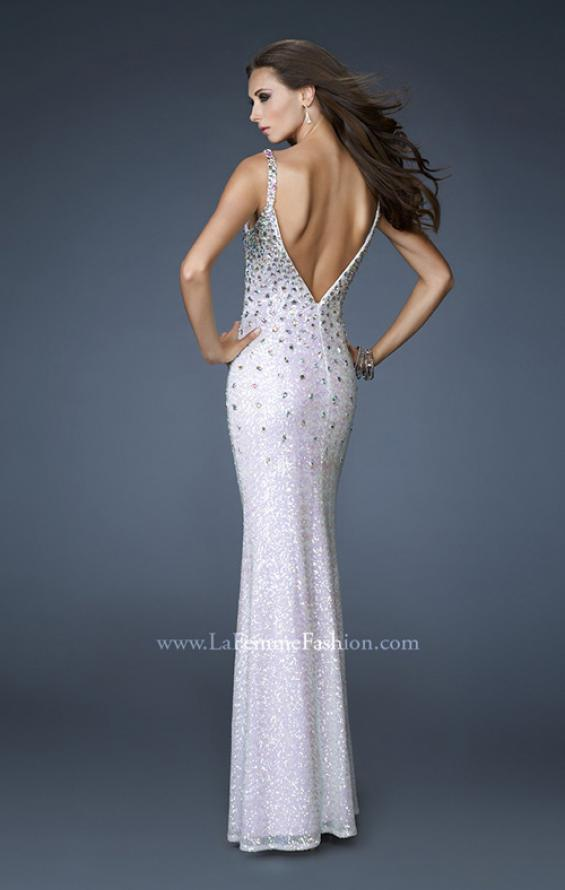 Picture of: Long Sequined Gown with Beaded Straps and Low Back, Style: 18670, Back Picture