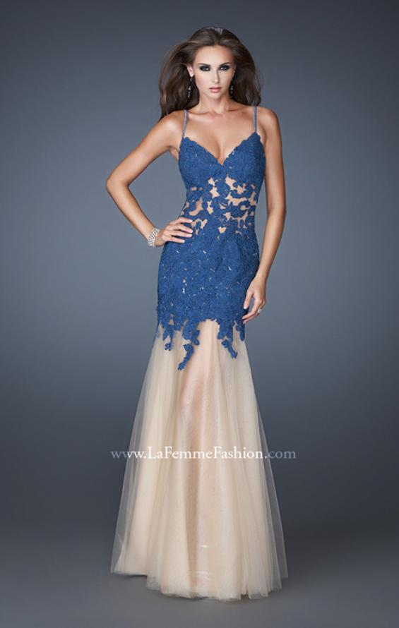 Picture of: Trumpet Style Prom Dress with Neckline and Thin Straps, Style: 18675, Detail Picture 1