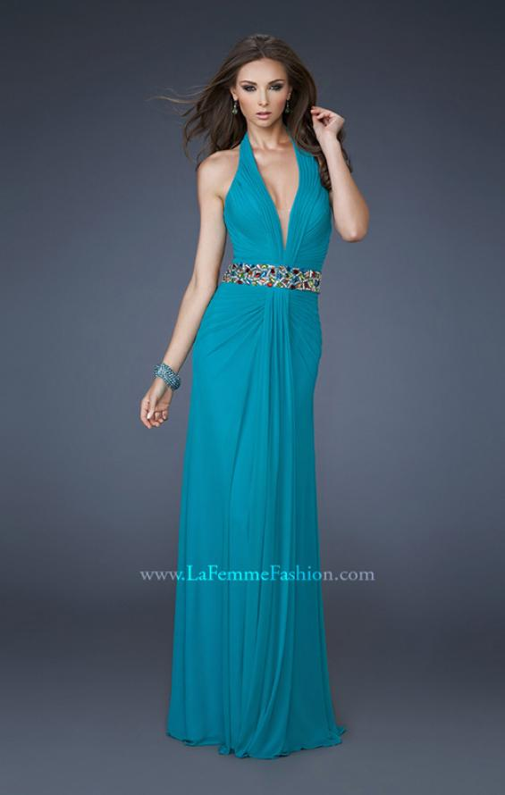 Picture of: V Neck Halter Dress with Ruching and Beaded Belt, Style: 18676, Main Picture