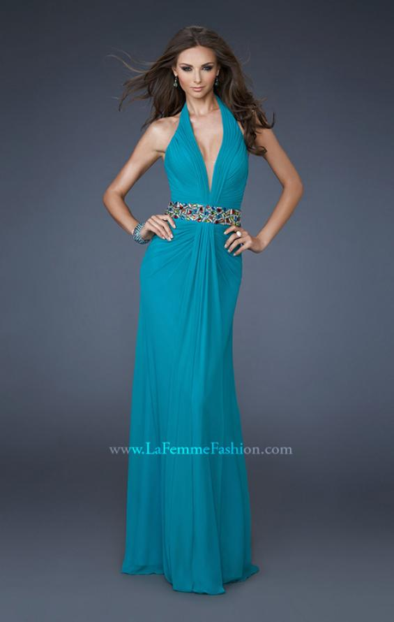 Picture of: V Neck Halter Dress with Ruching and Beaded Belt, Style: 18676, Detail Picture 1