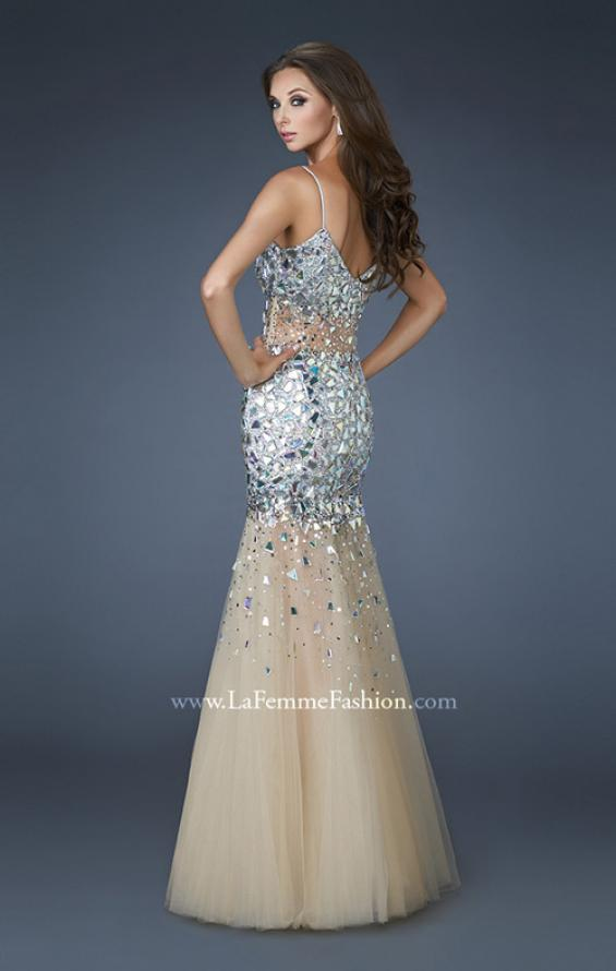 Picture of: Long Mermaid Prom Dress with Tulle Skirt and Beading in Silver, Style: 18689, Back Picture