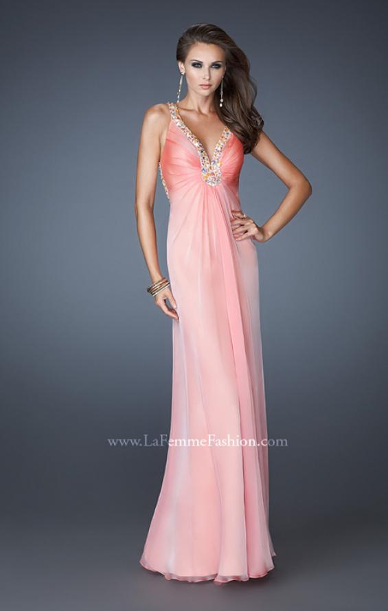Picture of: Beaded V neck Prom Dress with Criss Cross Straps, Style: 18693, Detail Picture 1