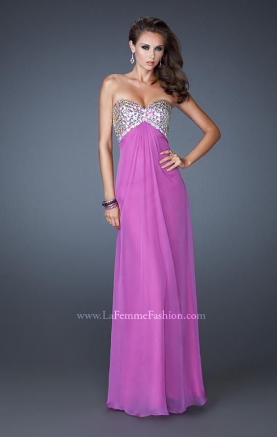 Picture of: Empire Waist Chiffon Dress with Beaded Bodice, Style: 18695, Main Picture