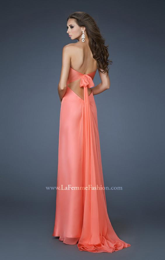 Picture of: Empire Waist Chiffon Dress with Beaded Bodice, Style: 18695, Back Picture