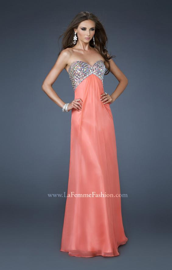 Picture of: Empire Waist Chiffon Dress with Beaded Bodice, Style: 18695, Detail Picture 1
