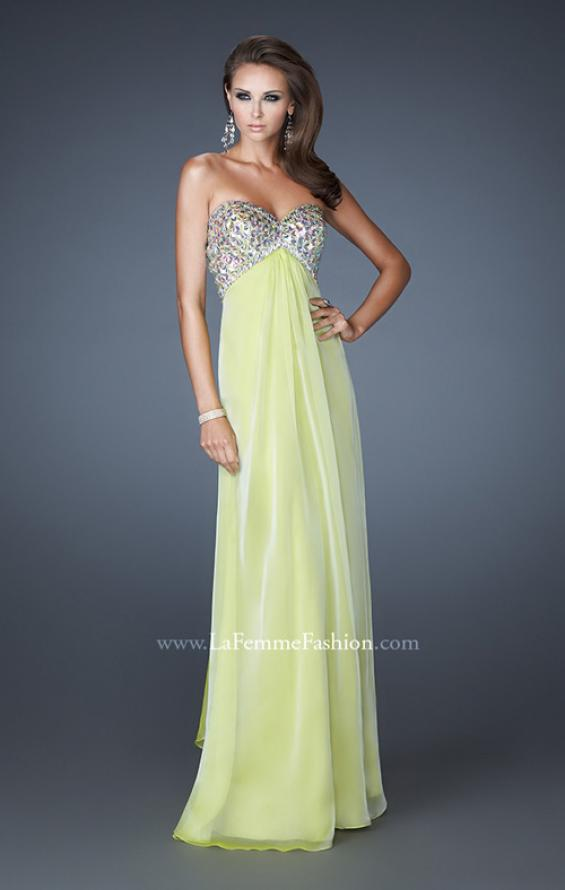 Picture of: Empire Waist Chiffon Dress with Beaded Bodice, Style: 18695, Detail Picture 2