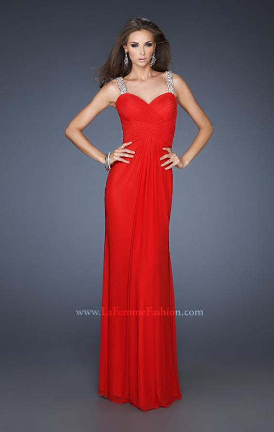 Picture of: Sequined One Shoulder Gown with Sweetheart Neckline in Red, Style: 18698, Detail Picture 1