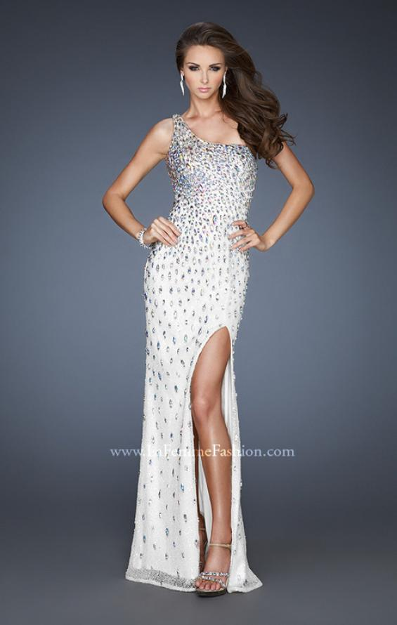 Picture of: Iridescent Stone Elegant Prom Dress with Side Slit in White, Style: 18700, Main Picture