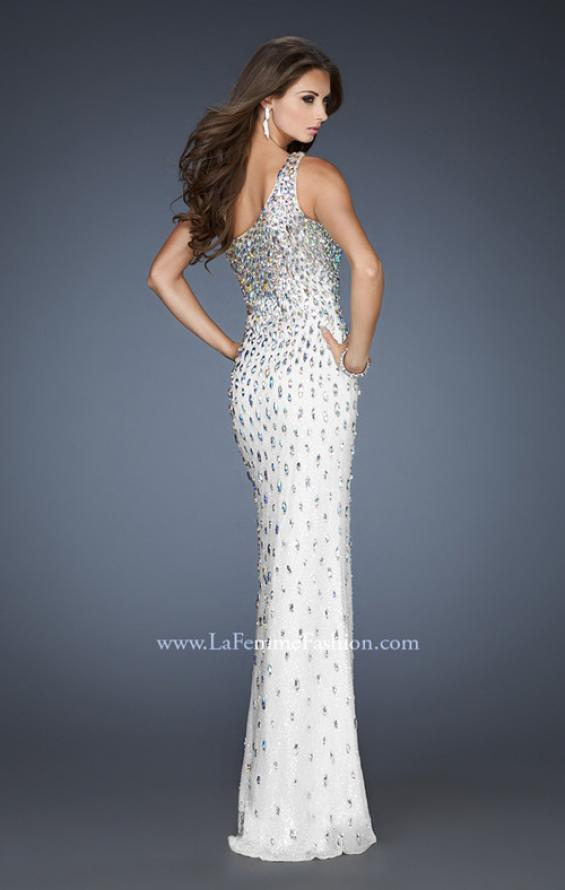 Picture of: Iridescent Stone Elegant Prom Dress with Side Slit in White, Style: 18700, Back Picture