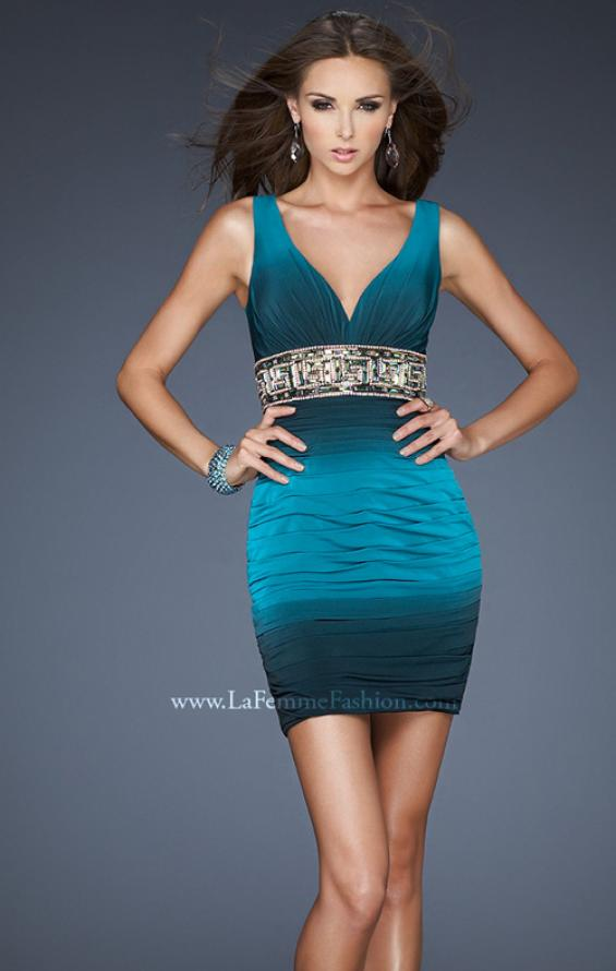 Picture of: Empire Waist V Neck Cocktail Dress with Beaded Belt in Blue, Style: 18703, Main Picture