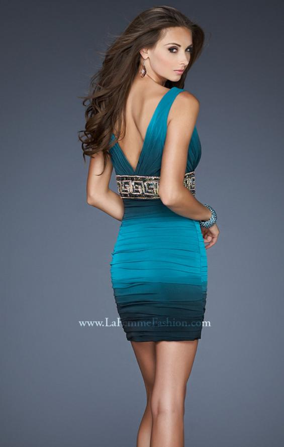 Picture of: Empire Waist V Neck Cocktail Dress with Beaded Belt in Blue, Style: 18703, Back Picture