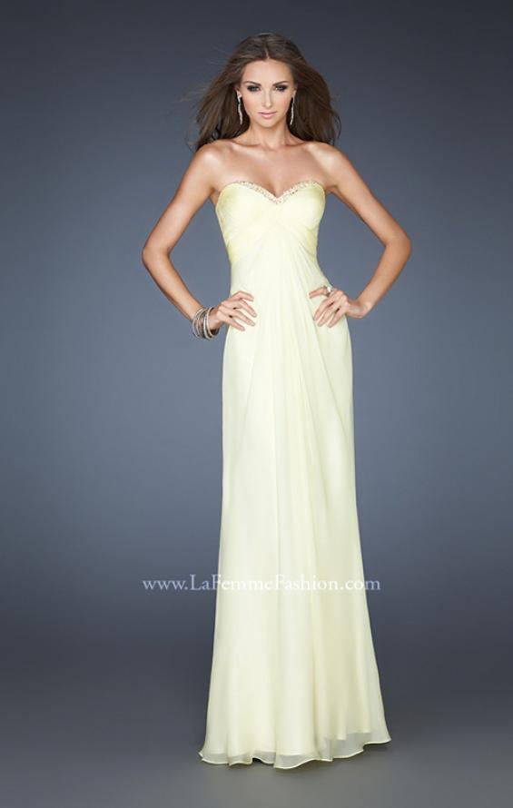 Picture of: Empire Waist Prom Gown with Beaded Neckline in Yellow, Style: 18705, Main Picture