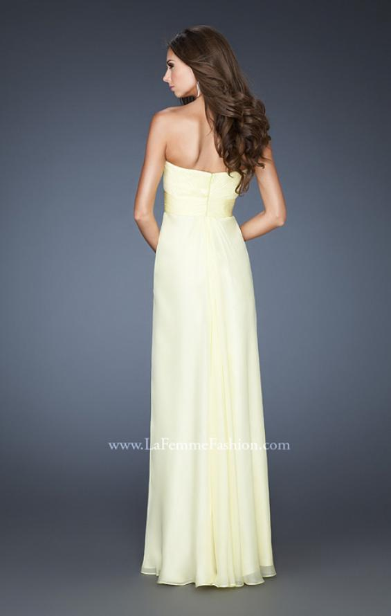 Picture of: Empire Waist Prom Gown with Beaded Neckline in Yellow, Style: 18705, Back Picture