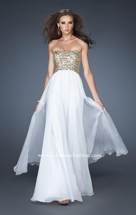 Picture of: Long A-line Dress with Sequined Bodice and Open Back, Style: 18708, Main Picture