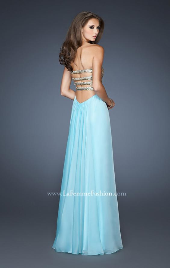 Picture of: Long A-line Dress with Sequined Bodice and Open Back, Style: 18708, Back Picture