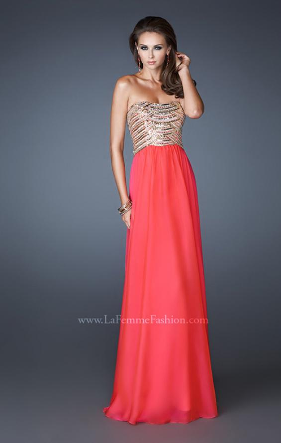 Picture of: Long A-line Dress with Sequined Bodice and Open Back, Style: 18708, Detail Picture 1