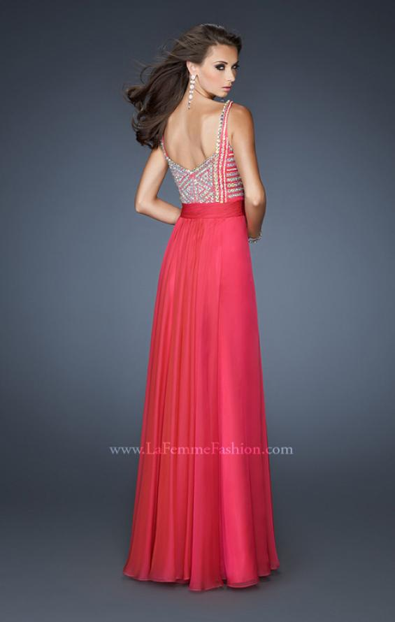 Picture of: Intricate Beaded Prom Dress with Gathered Waist in Pink, Style: 18713, Back Picture