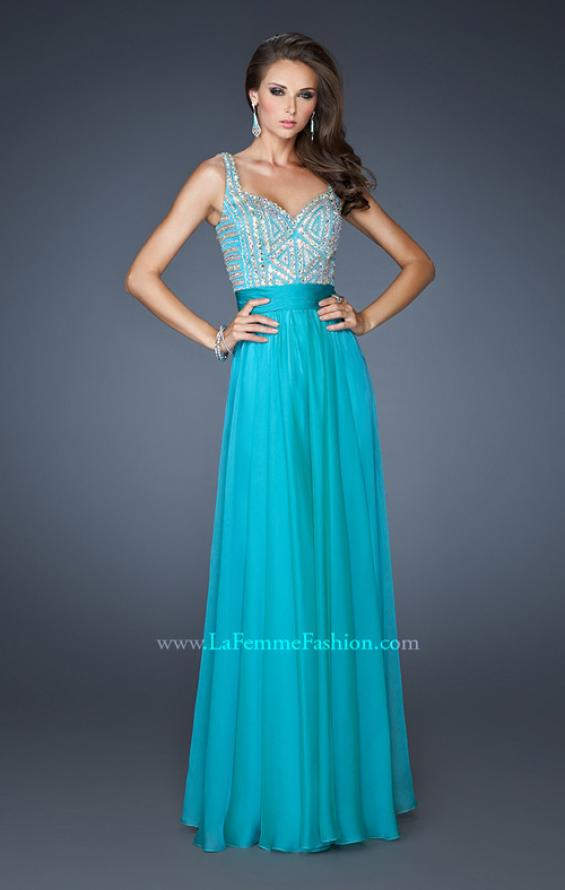 Picture of: Intricate Beaded Prom Dress with Gathered Waist in Blue, Style: 18713, Detail Picture 1
