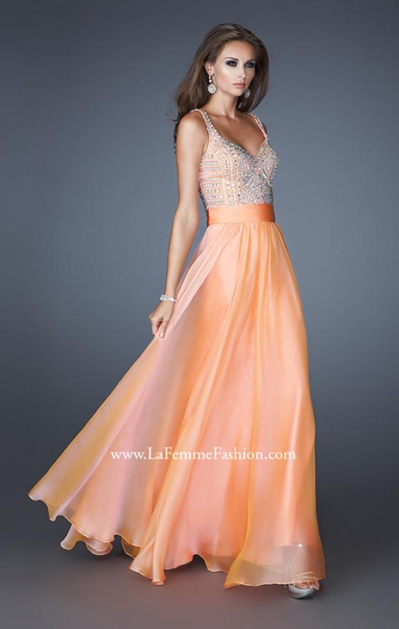 Picture of: Intricate Beaded Prom Dress with Gathered Waist in Orange, Style: 18713, Detail Picture 2