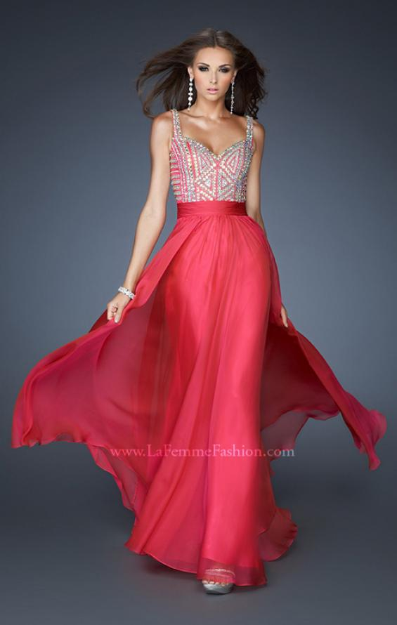 Picture of: Intricate Beaded Prom Dress with Gathered Waist in Pink, Style: 18713, Detail Picture 3