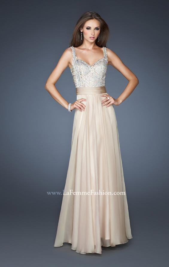 Picture of: Intricate Beaded Prom Dress with Gathered Waist in Nude, Style: 18713, Detail Picture 5