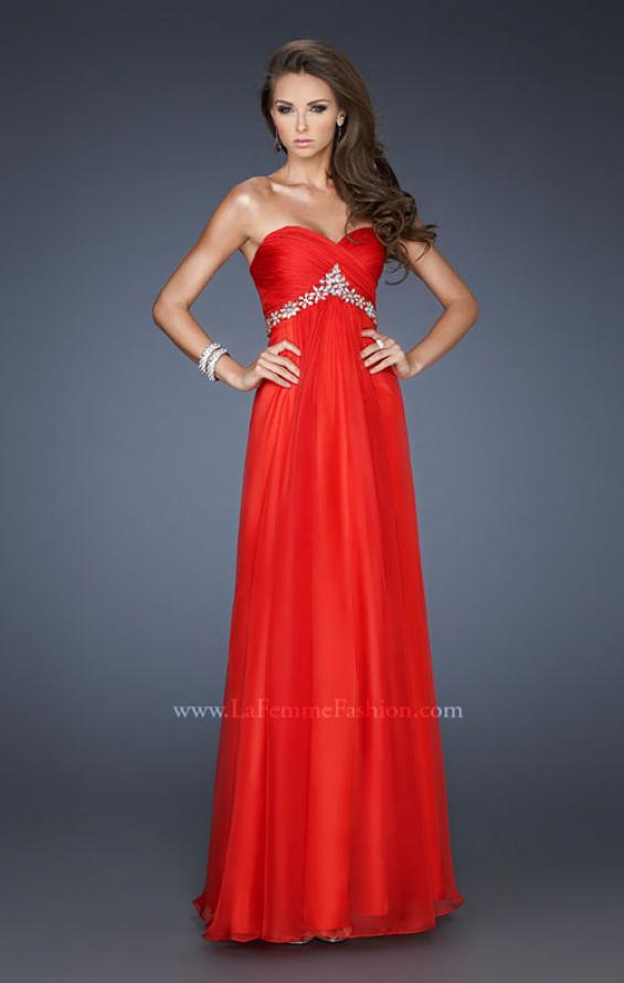 Picture of: Empire Waist Chiffon Dress with Ruched Neckline, Style: 18715, Main Picture