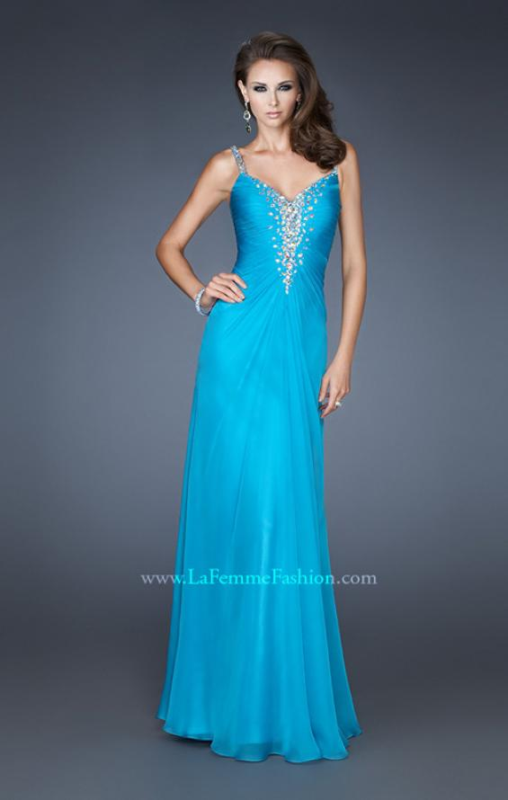 Picture of: Chiffon Prom Dress with Beaded Bodice and Straps in Blue, Style: 18726, Main Picture