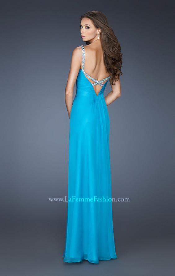 Picture of: Chiffon Prom Dress with Beaded Bodice and Straps in Blue, Style: 18726, Back Picture