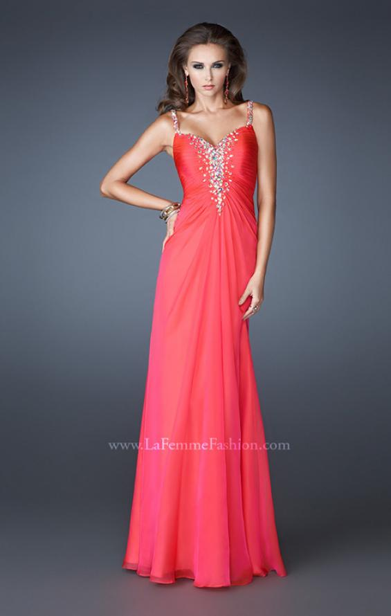 Picture of: Chiffon Prom Dress with Beaded Bodice and Straps in Pink, Style: 18726, Detail Picture 1