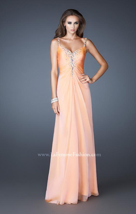 Picture of: Chiffon Prom Dress with Beaded Bodice and Straps in Orange, Style: 18726, Detail Picture 2