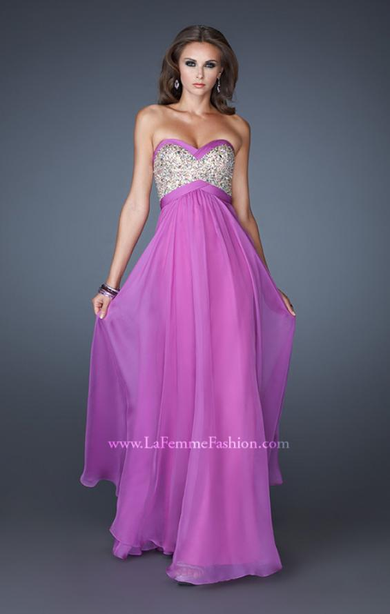 Picture of: Pleated Chiffon Prom Dress with Sequined Bodice in Purple, Style: 18733, Main Picture