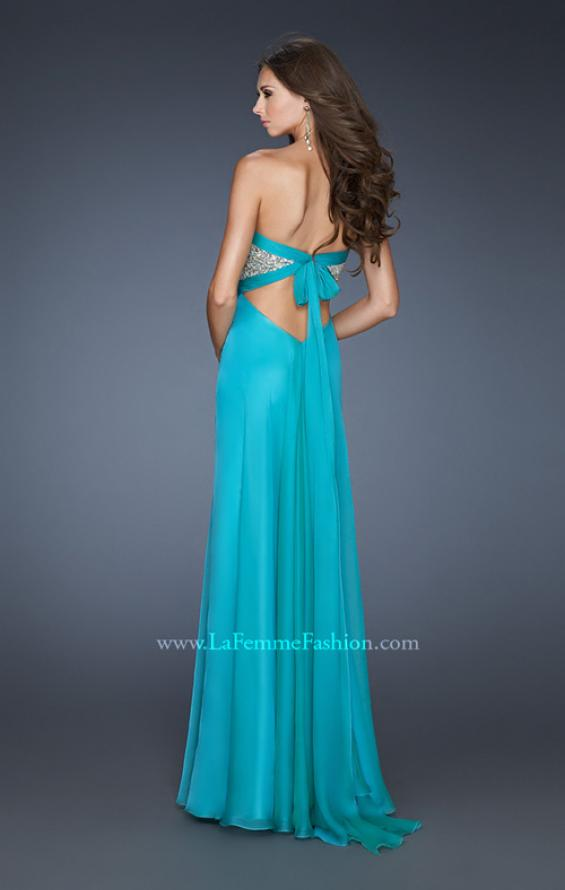 Picture of: Pleated Chiffon Prom Dress with Sequined Bodice in Blue, Style: 18733, Back Picture