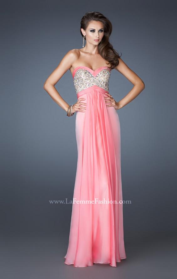Picture of: Pleated Chiffon Prom Dress with Sequined Bodice in Pink, Style: 18733, Detail Picture 1