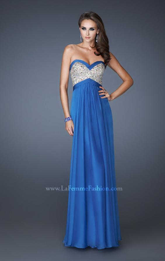 Picture of: Pleated Chiffon Prom Dress with Sequined Bodice in Blue, Style: 18733, Detail Picture 2