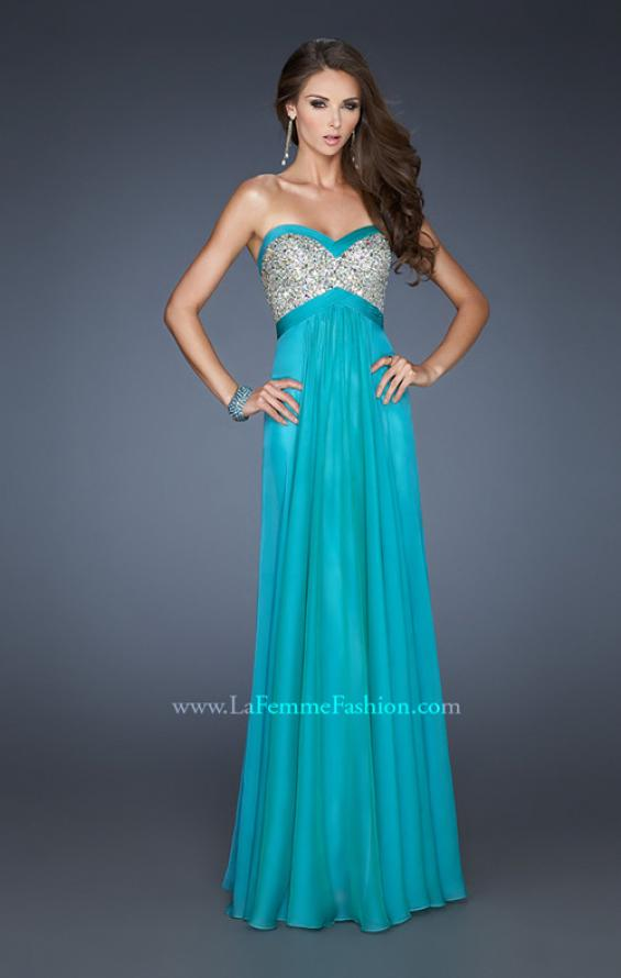 Picture of: Pleated Chiffon Prom Dress with Sequined Bodice in Blue, Style: 18733, Detail Picture 3