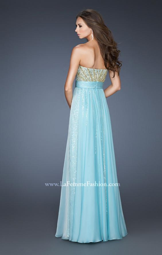 Picture of: A-line Sequined Gown with Ruched Chiffon Belt, Style: 18737, Back Picture
