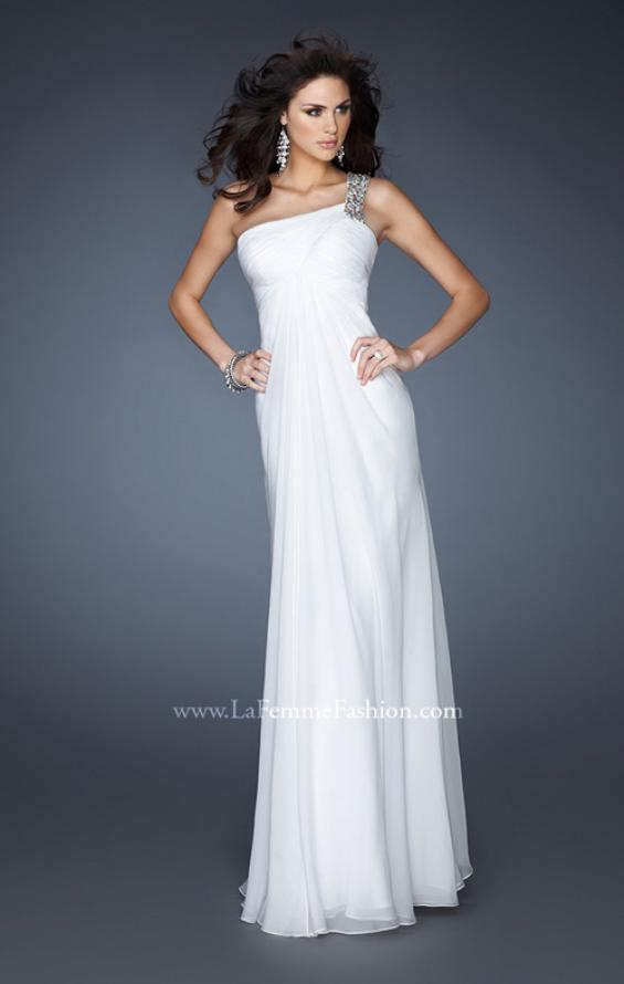 Picture of: Ruched Bodice Prom Dress with Patterned Top in White, Style: 18738, Main Picture