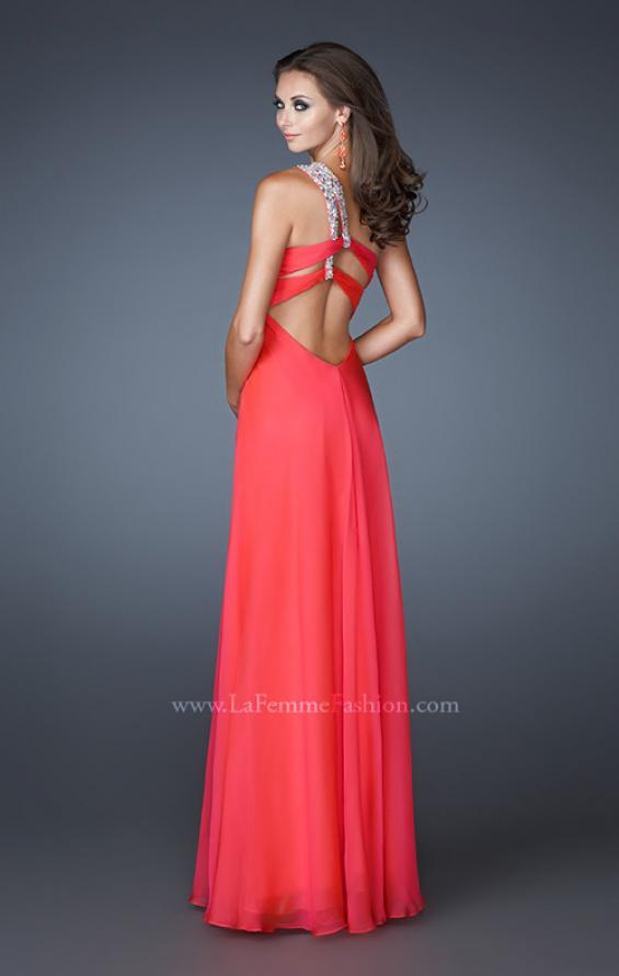 Picture of: Ruched Bodice Prom Dress with Patterned Top in Pink, Style: 18738, Back Picture